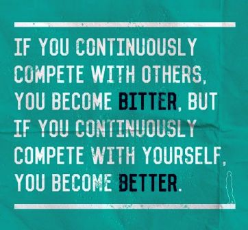 Compete with Yourself is Important then compete with others
